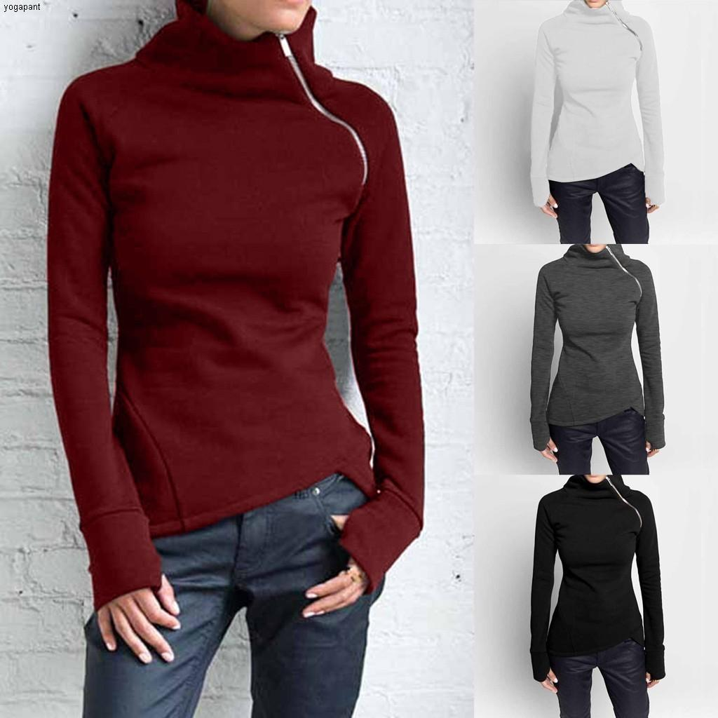 Women's Solid Color Sweatshirts Long Sleeve Loose Pullover Korean Style Turtleneck Zipper Blouses Autumn Spring Tops ##4