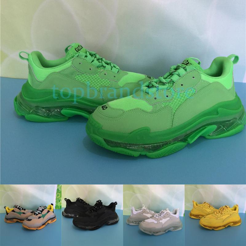الثلاثي S أحذية الرجال مصمم اضحة الوحيدة النيون أسود أخضر أبيض أصفر الصالة الرياضية قوس قزح أحمر أزرق رمادي النساء أحذية رياضية الأزياء الفاخرة