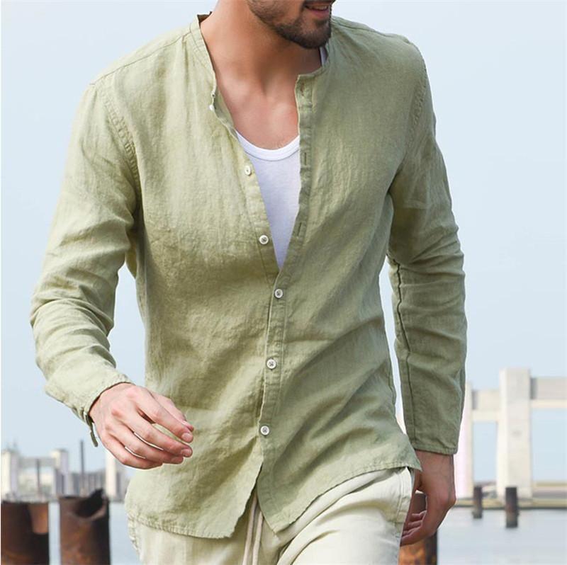 Keten Erkek Tasarımcı Gömlek İlkbahar Sonbahar Mandarin Yaka Katı Renk Uzun Kollu Hırka Gömlek Casual Erkek Gömlek