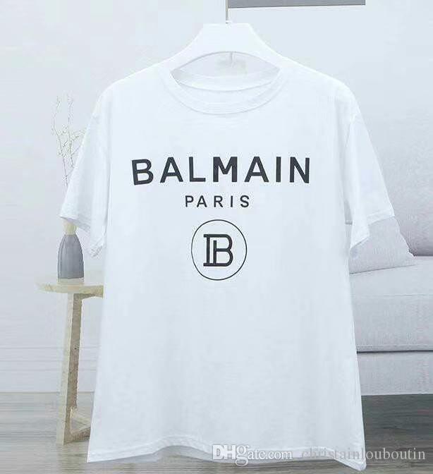 2019 Yeni Balmain T-Shirt Varış Ünlü Lüks Fransa Marka Balmain Kadınlar Erkekler Için Fabrika Moda Modeli Sıska Delik