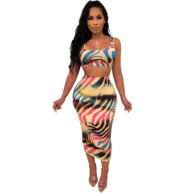 Women's Print Casual Two-Piece Set Sexy Stripe Bodycon Crop Tops + Hip Skirt Suits Female Casual OL Playsuit Nightclub Bodysuits