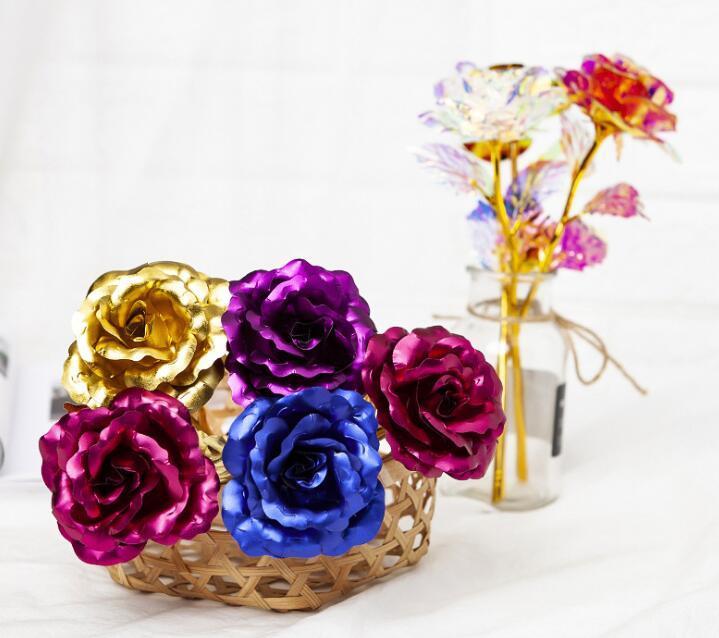 100pcs Couronnes Fleurs Valentine E Jour 24k Gold Dally Plated Rose Creative Cadeaux dure pour toujours pour les orientations de mariage de l'amant