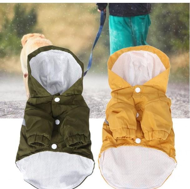 Dog Raincoat Puppy Rain Coat Light Clothes Polyester Waterproof Reflective Printing Letter Double Layer Folding Pet Raincoat