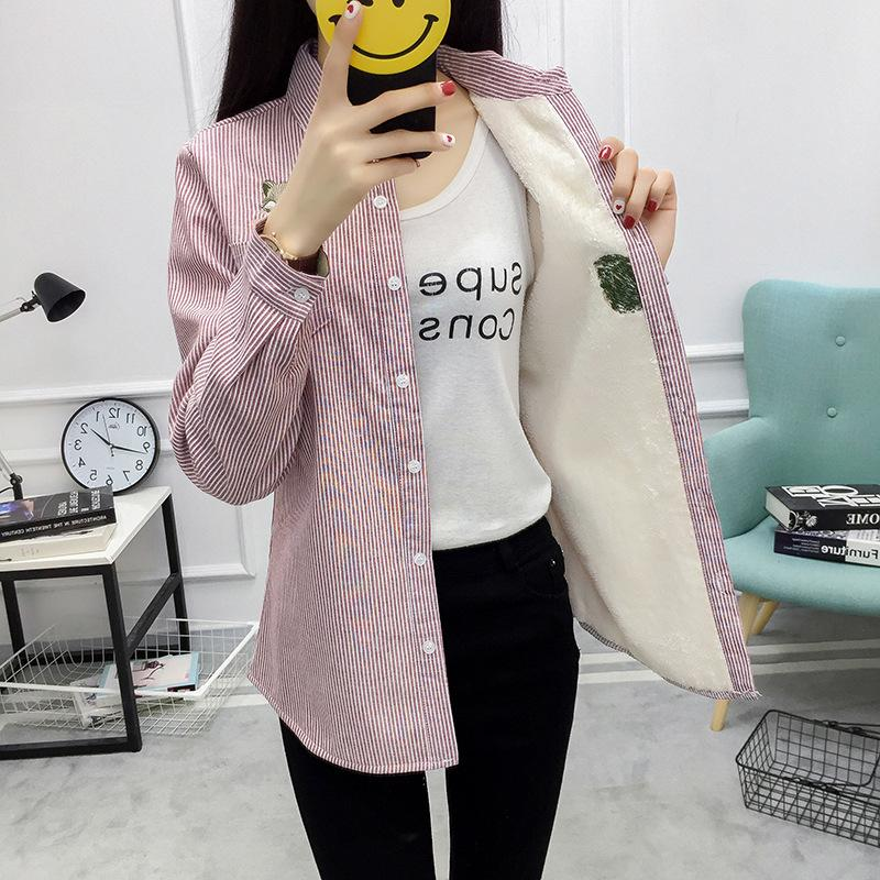 Winter Velvet Thick Warm Blouse Women Striped Office Shirt Female Long Sleeve Lady Tops Embroidery Cotton Outwear Plus Size