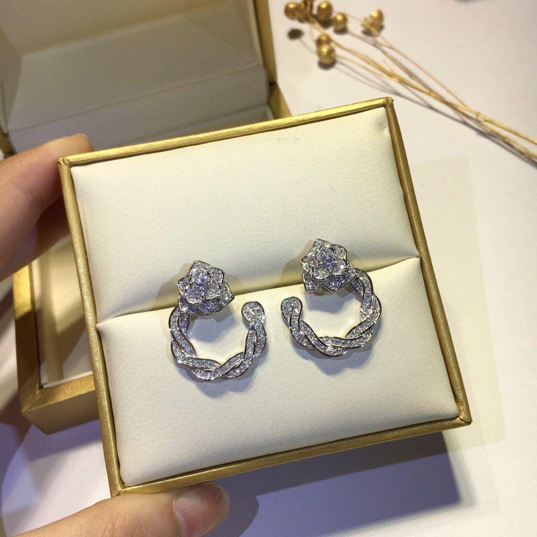 Stud Rose Ohrringe Schmuck Blume Ohrring für Frauen Hochzeit Engagement Mode Weihnachten Party Geschenk 8694