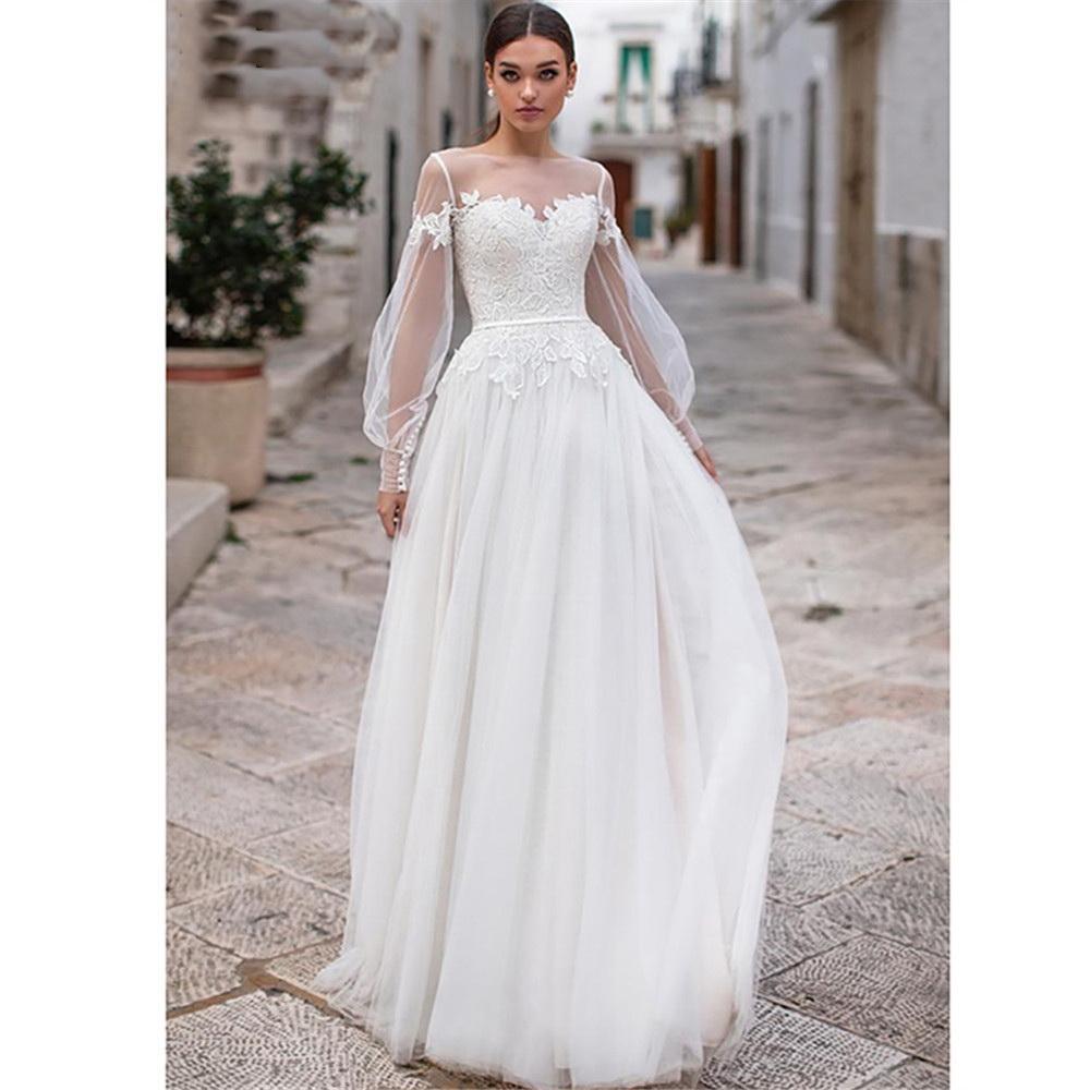 2020 vestidos de casamento mangas compridas Wedding Dress Robe de mariee Lace Top Vintage New nupcial vestido de chiffon