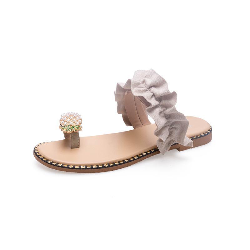 2020 новый стиль вьетнамки женская летняя мода носить горный хрусталь плоский песок пляжные сандалии открытый сандалии клип Toe фрукты тапочки