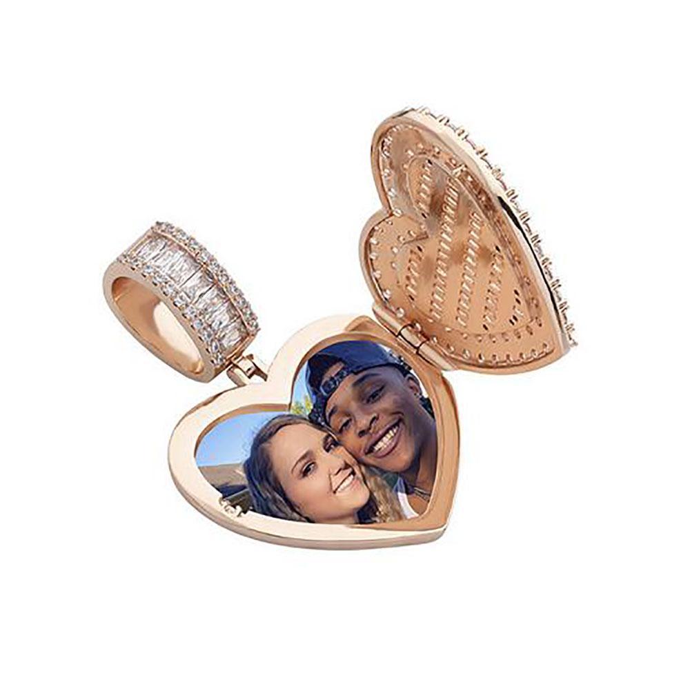 Collar pendiente del Locket del corazón de la plata por encargo colgante de la foto del oro para los regalos de los hombres de las mujeres de la joyería de Hiphop