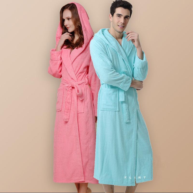 Printemps, Été, Coton Robe double boucle prolongée à capuchon Coton Robe Peignoir Hôtel Ménage à prendre pyjamas peignoir