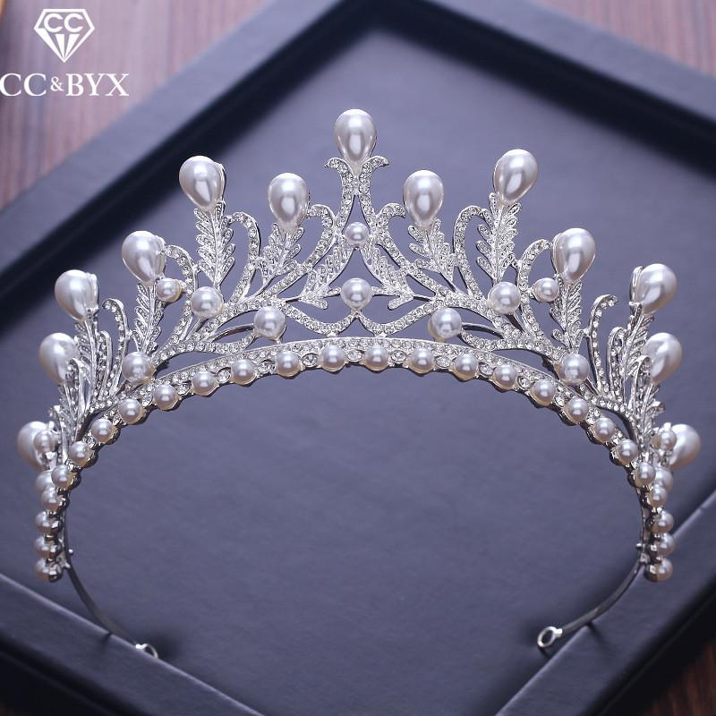 CC Tiaras And Crowns Luxury CZ Pearl Princess Pageant Engagement Wedding Hair Accessories For Bridal Jewelry Shine Crystal XY058 C18112001