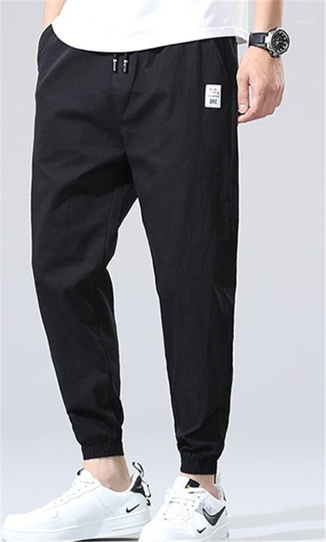 with Pocket Mid Waist Active Men Clothing Mens Designer Pencil Pants Drawstring Pure Color Capris Pants