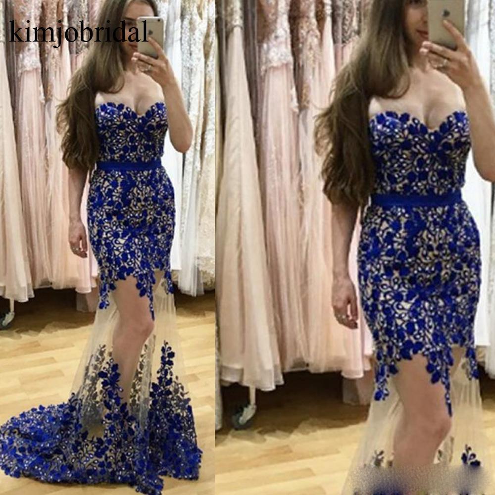 Royal Blue Prom Dresses Lace Mermaid Sweetheart Neckline Lace Appliques Long Evening Dresses Gowns Vestidos de Fiesta