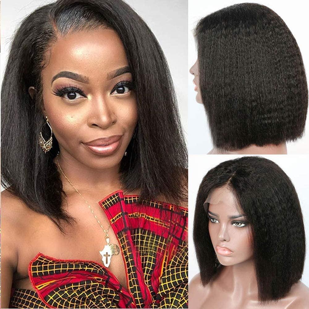 """Frente del cordón humano pelucas de pelo corto con el bebé de pelo Pre desplumados rayita BrazilianRemy sexuales Bob peluca de 10 """"-14"""" pelo humano del color natural"""