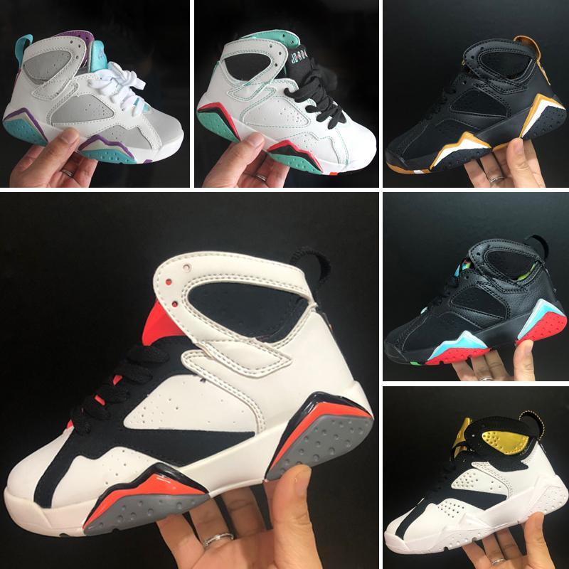 Nike Air Jordan 7 AJ7 K001 2019 venda quente Crianças Sapatilhas hot Quality Kids 7 VII Sapatos de Basquete Meninos Meninas Crianças Atlético tênis de basquete 28-35 atacado