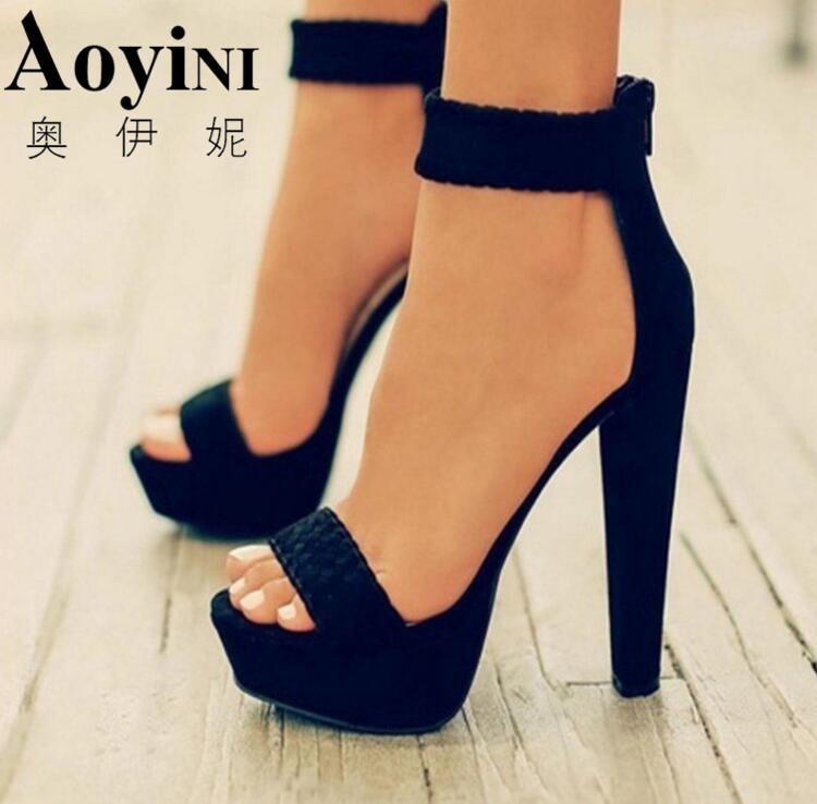 Nuove donne sexy pompa i pattini Moda Sandali estate tacco alto 16 centimetri della punta di pigolio dei sandali intrecciato piede ad anello della cinghia della caviglia Sandali