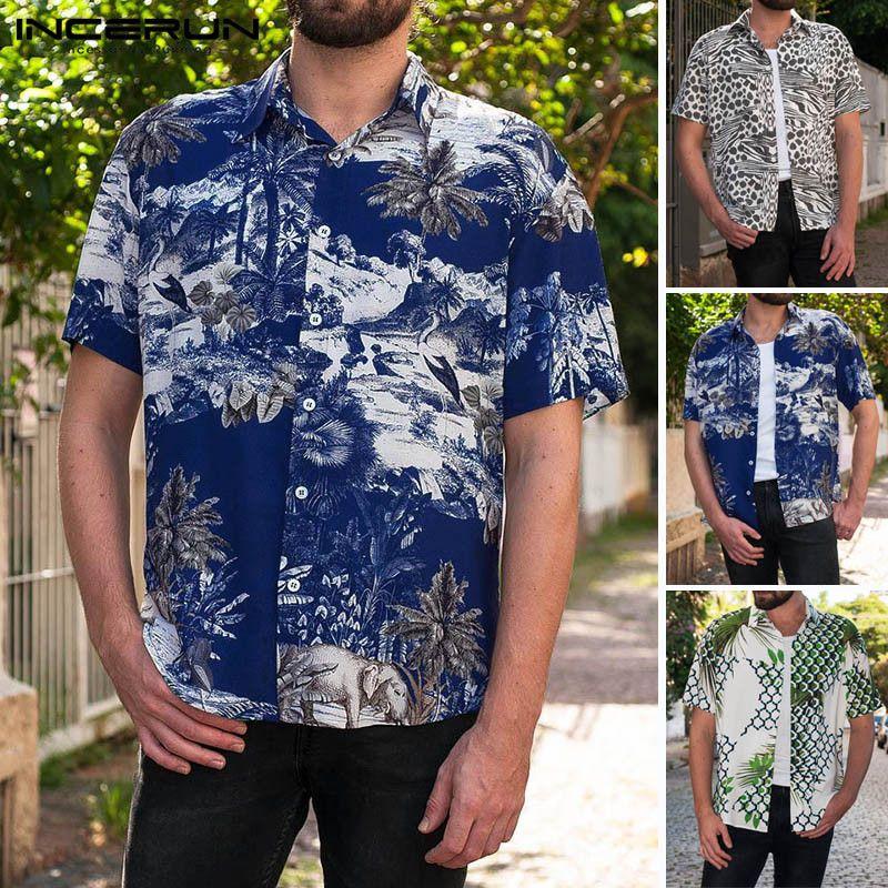 Men/'s Tops Blouse T-Shirt Pullover Print Lapel Collar Tee Summer Loose Beach
