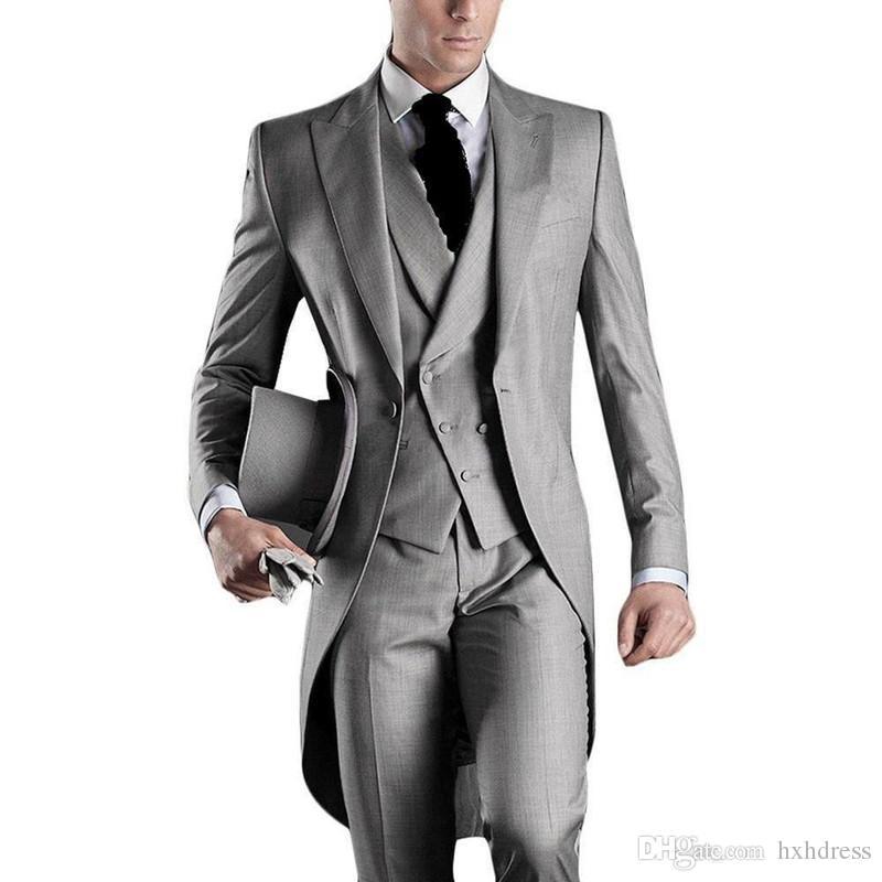 Neue neueste Design eine Taste hellgrau Bräutigam Smoking Spitze Revers Groomsmen Mens Hochzeitsanzüge Trauzeuge Anzüge (Jacke + Pants + Weste + Tie) XZ5
