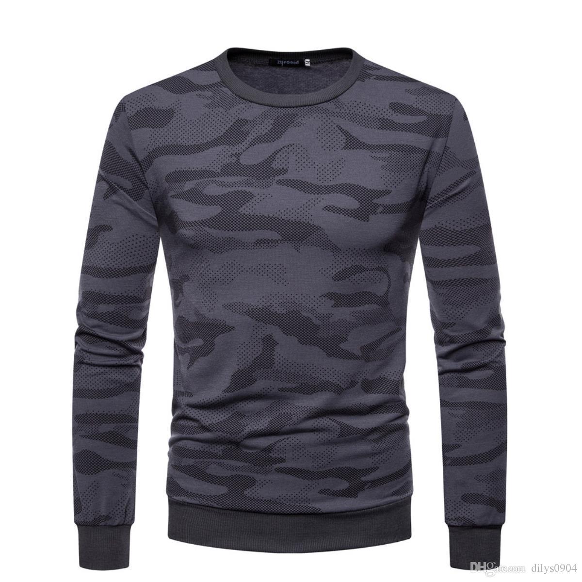2020 أزياء الرجال ق الفاخرة مصمم رجالي تي شيرت تي شيرت تي شيرت التمويه الطباعة طويلة الأكمام التي شيرت رجالي ملابس الملابس قميص تي