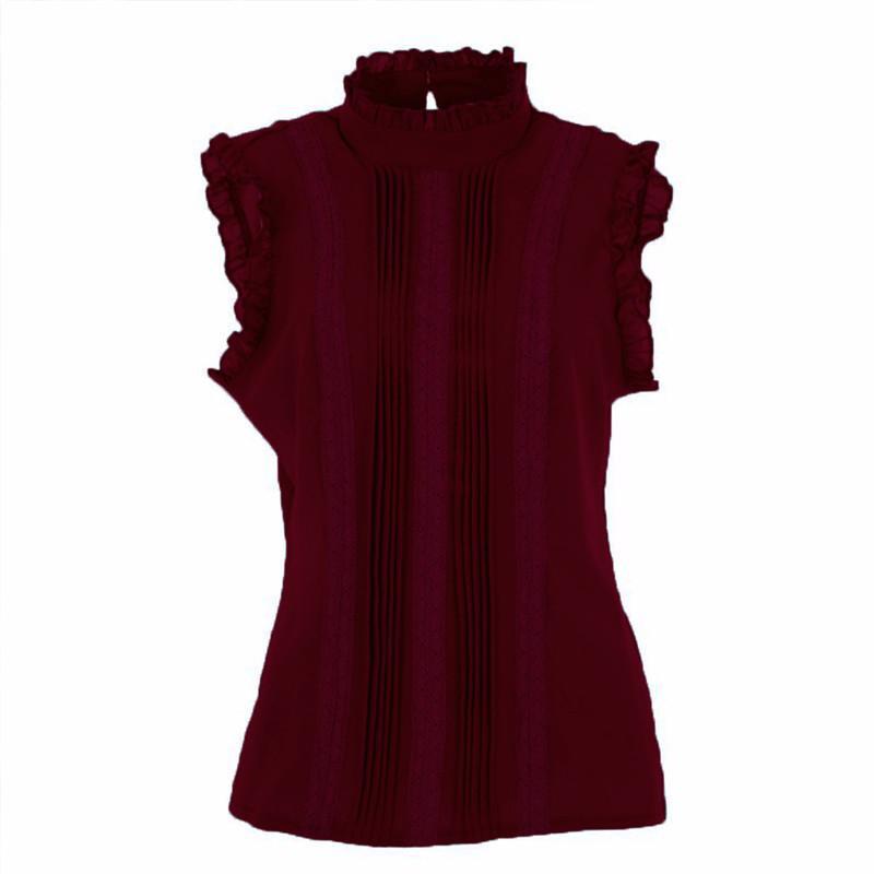 Women's Blouses & Shirts Fashion Retro Style Women Reffle Shirt Chiffon Blouse Office Lady Casual Summer Top Elegant