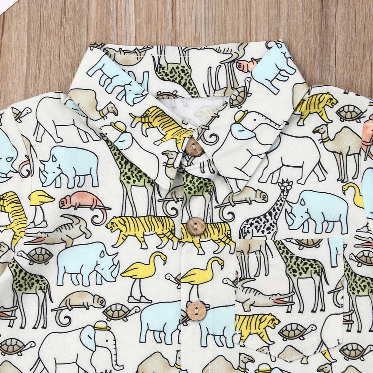 Дети Летняя одежда Набор Повседневный малышей Baby Boy с коротким рукавом животных Кнопка печати Футболка Топ Шорты Брюки 2Pcs Экипировка Одежда