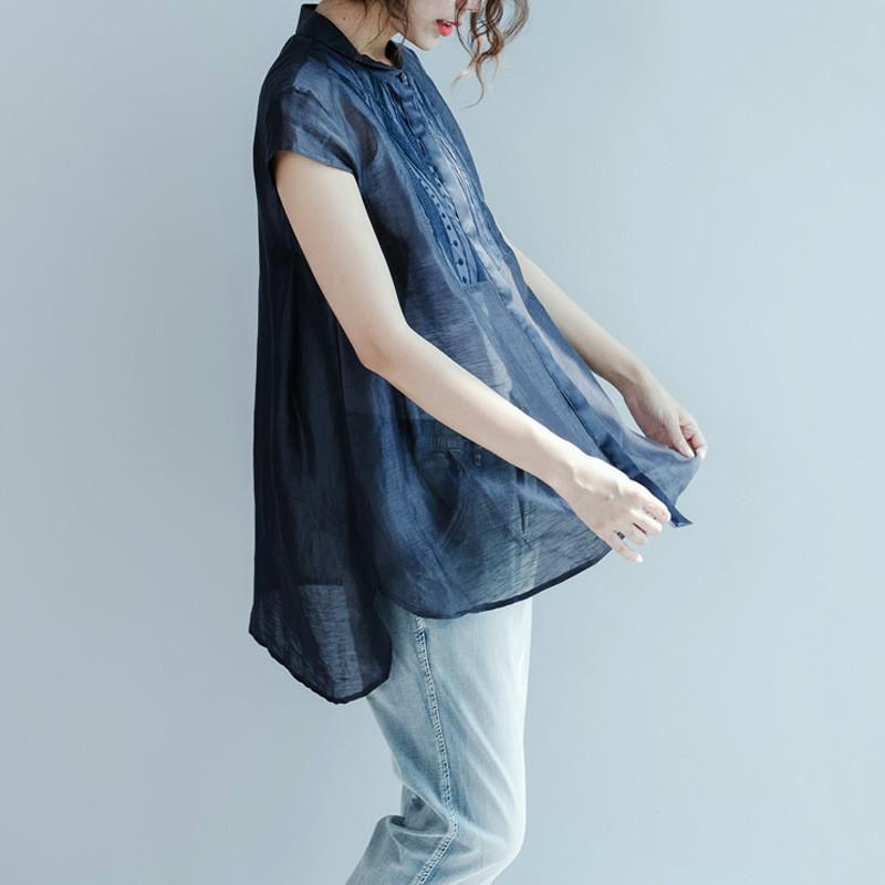 실제 실크 여성의 블라우스 여름 패션 여자 2020 한국어 느슨한 쉬폰 자수 셔츠 여성 블라우스 blusas C106은 길어야