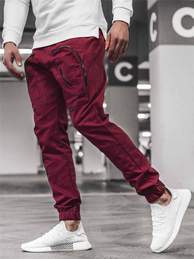 New Calças dos homens da forma de multi bolso da calça de jogging projeto zipper macacões irregular calças movimentando-up do laço M-3XL