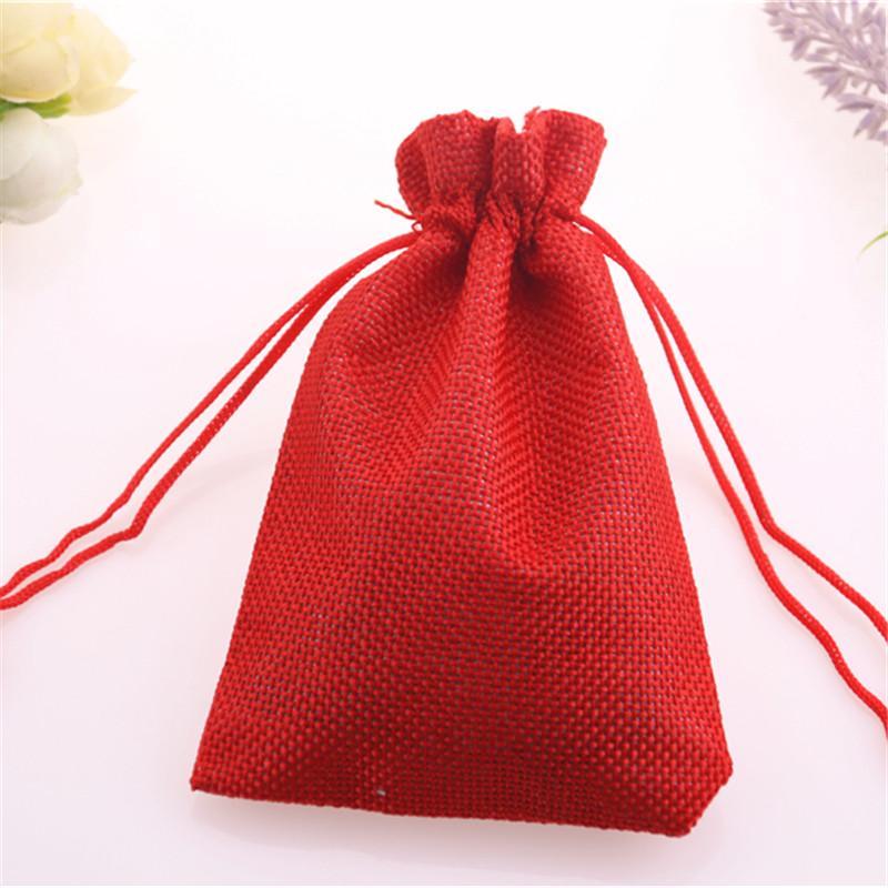 Novo Design Atacado 10pcs / lot Natal Red Embalagem com cordão de serapilheira feixe de bolso jóias com cordão bolsas de linho