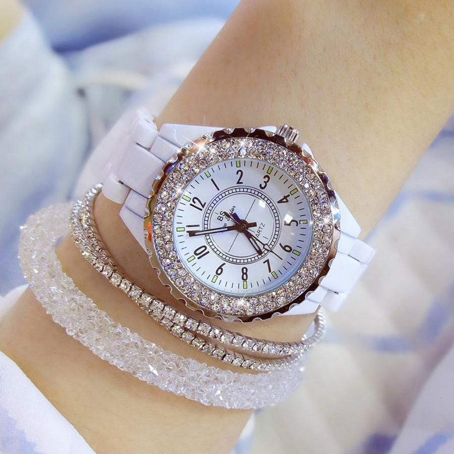 2018 top brand luxury wrist watch for women white ceramic band ladies watch quartz fashion women watches rhinestones black BS V191116