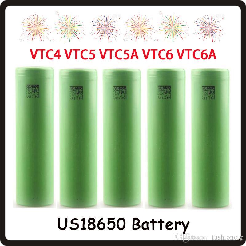 أعلى جودة VTC4 VTC5 VTC5A VTC6 VTC6A 3000mAh 2600mAh 2100mAh 18650 Battery ECig Mod بطارية ليثيوم أيون قابلة للشحن Fedex مجانًا