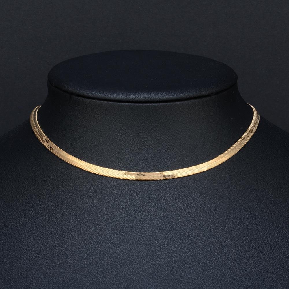 الذهب الشظية 3mm اللون قلادة واسعة الرجال المجوهرات الإناث الترقوة شفرة سلسلة قصيرة سلسلة قلادة زخرفة شقة ثعبان العظام