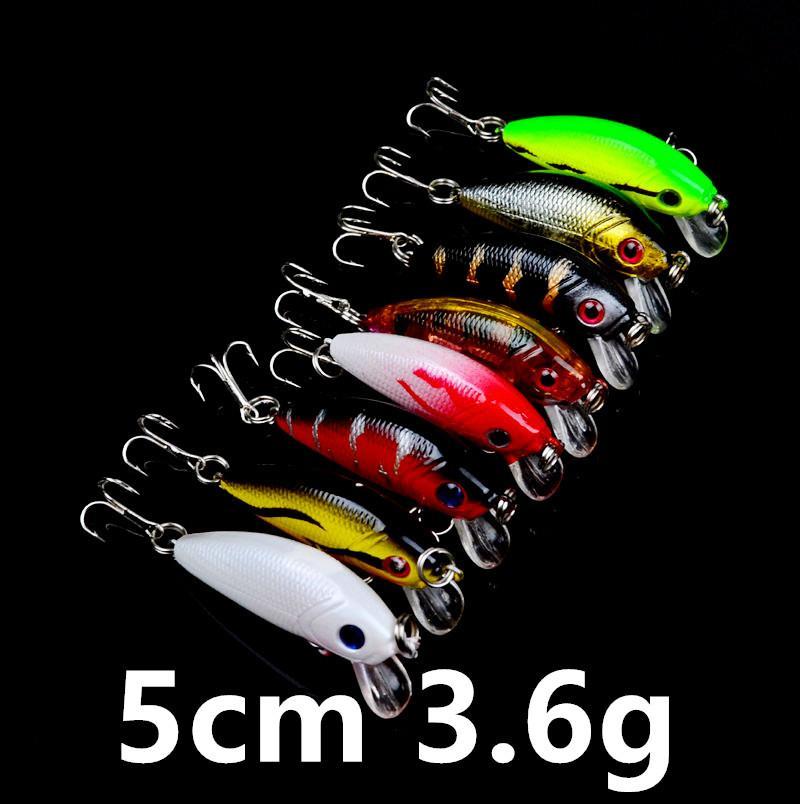 8-Farben 5 cm 3,6 g Minnow-harter Plastikköder Köder Angelhaken 10 # Haken Pesca Angelgerät Zubehör LC-45