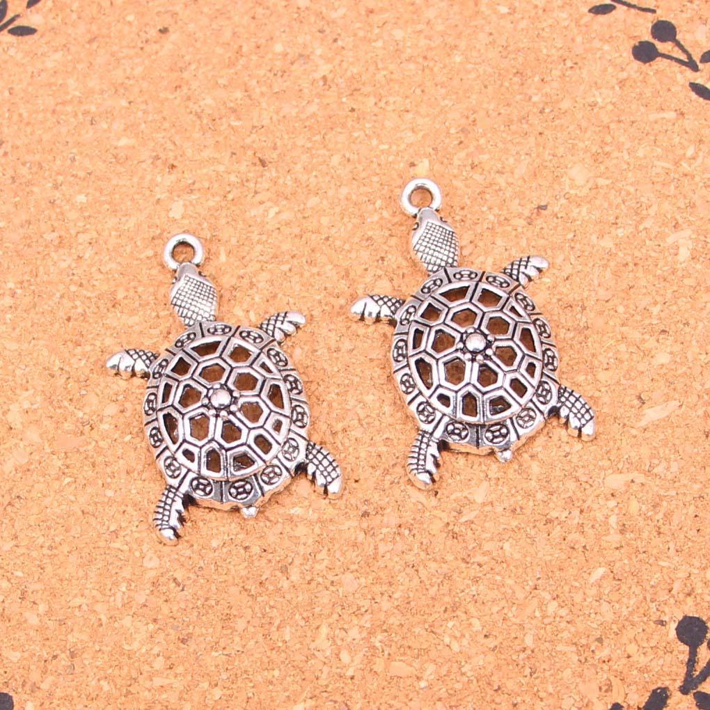 33pcs Charms içi boş kaplumbağa deniz Antik Gümüş Kaplama Kolye DIY El Yapımı Tibet Gümüş Takıları 38 * 25mm Yapımı