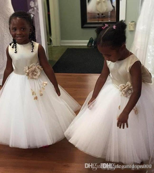 White Spring Ankle Length Flower Girls Dresses For Weddings Back With Big Bow Sash Satin Sash Kids Party Gowns Formal Wear Custom Made