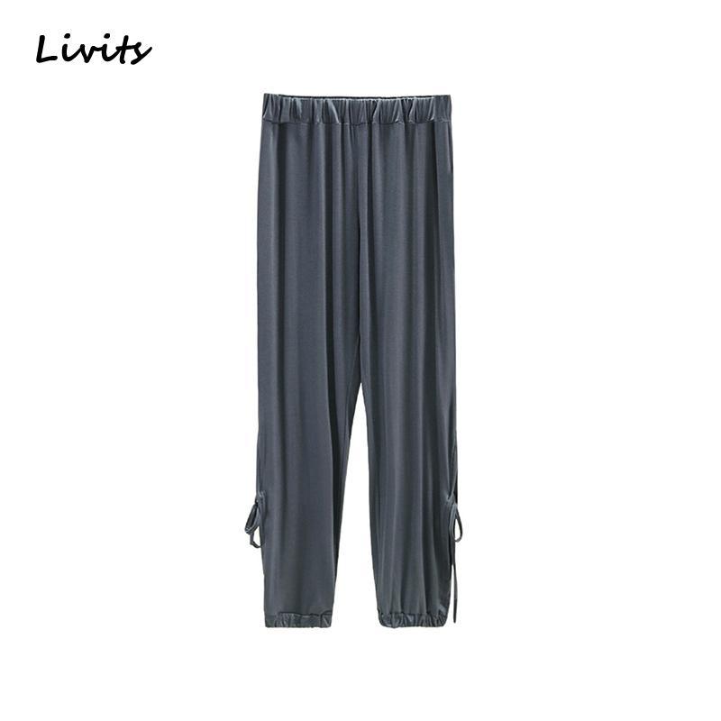 das mulheres calças longas Modal Elastic Tornozelo de comprimento Calças de cintura alta solto Streetwear Hetero plissado Sexy Casual Mulher