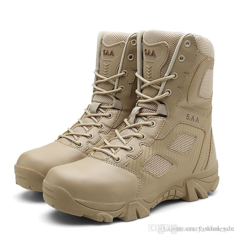 التكتيكية الصحراء رجل جزمة مقاومة ارتداء أحذية جيش مقاوم للماء في الهواء الطلق المشي لمسافات طويلة القتال أحذية الكاحل الولايات المتحدة 13 اللون الأسود