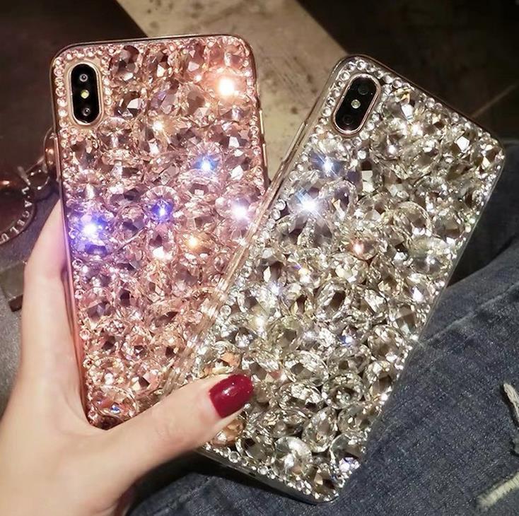 Алмазный дизайнер телефон Обложка для iPhone 11 Pro Max Xs MAX ХГ 6 7 8 Plus Rhinestone Блеск Case