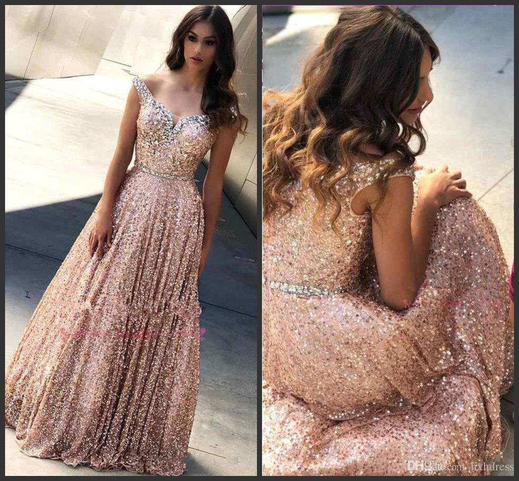 Rose Gold Off The Shoulder Sequins A Line Long Prom Dresses 2019 New Beaded Stones Floor Length Formal Party Wear Gowns
