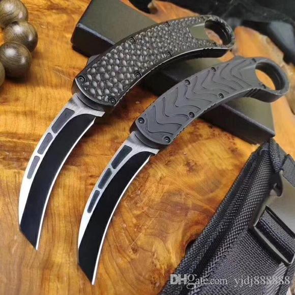 BM karambit 자동 조류 발톱 칼 D2 블레이드 알루미늄 핸들 더블 액션 야외 냉담한 강철 EDC 생존 자동 칼 A07 C07 A161