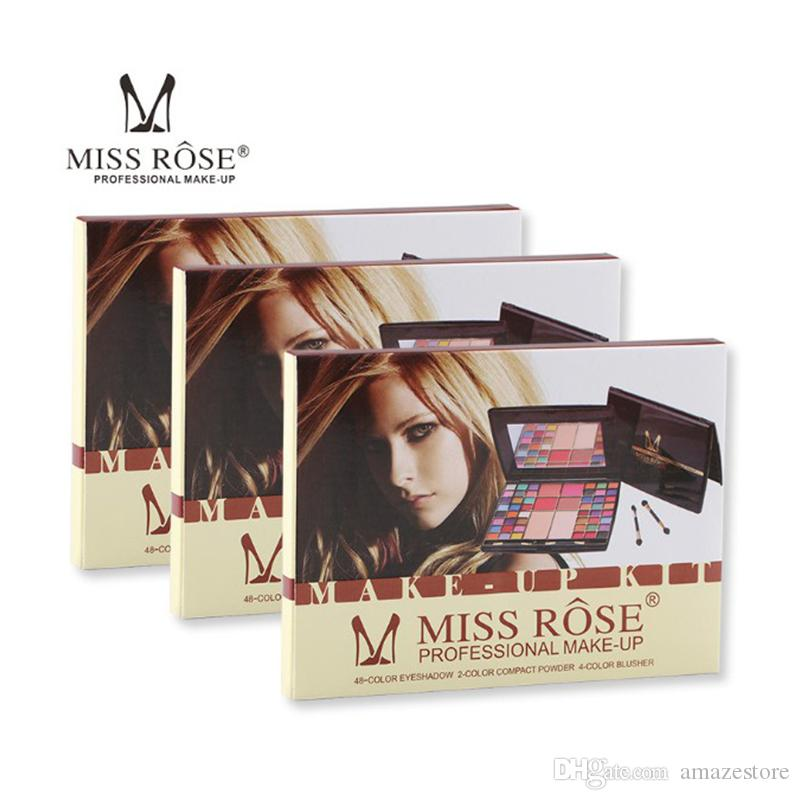 Miss Rose 48 colori Professional Trucco per il trucco Eye Shadow Palette Blusher Compact Powder Matte Glitter con pennello