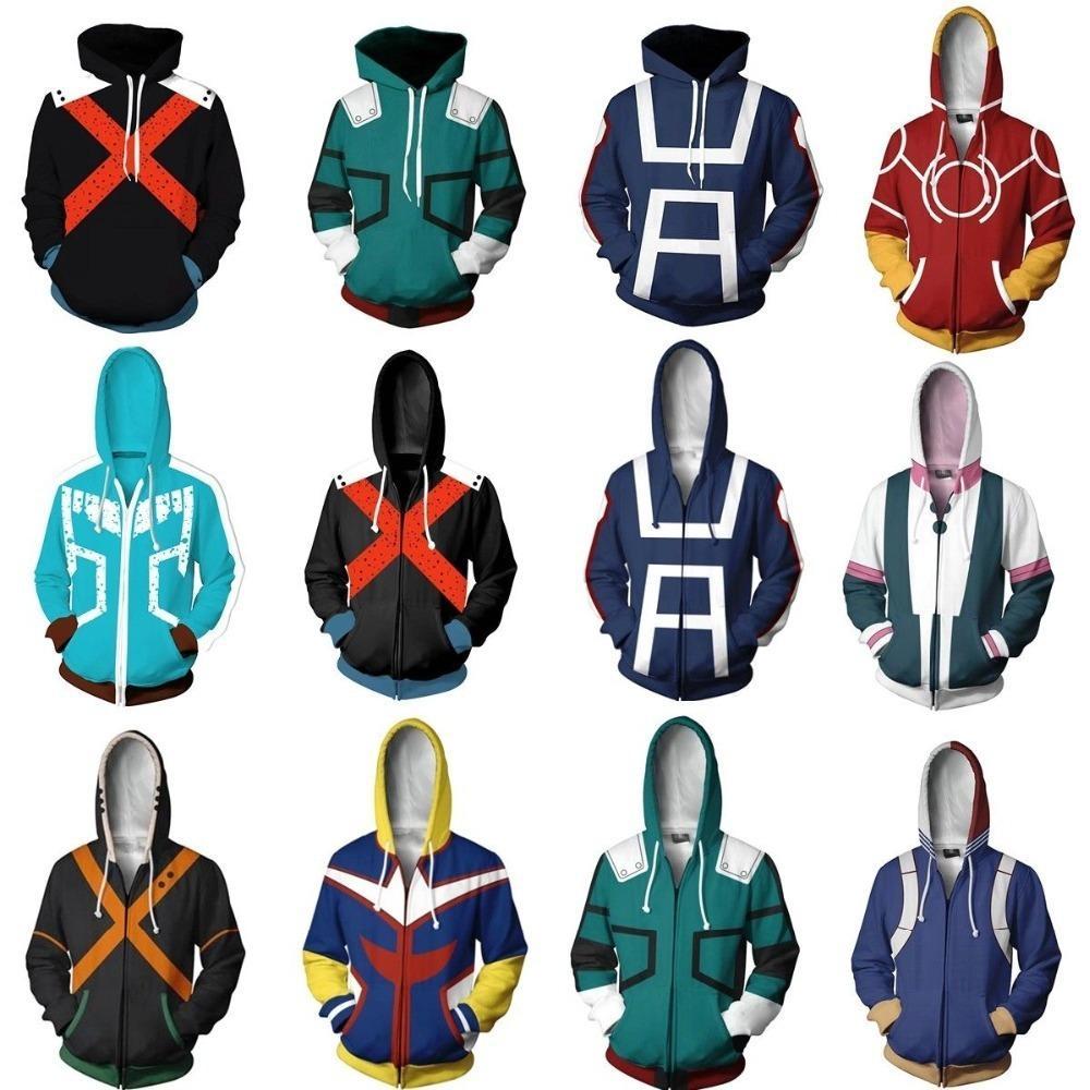 Мода Аниме 3d Мужчины Женщины Мой Герой Академия All Might Балахон Пальто Todoroki Shoto Косплей Костюмы Толстовка Куртка Униформа C19042201