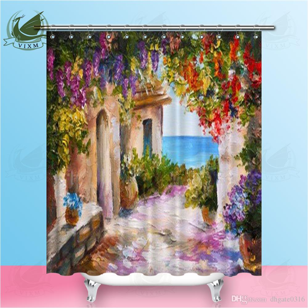 Vixm Oil Painting Sea Colorful Flowers Summer Seascape House Shower Curtains Waterproof Polyester Fabric Curtains For Home Decor