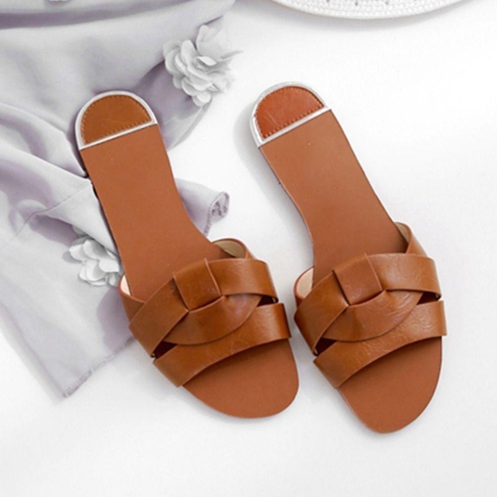 Les femmes Chaussons en cuir Les Slides chaussures élégantes d'été sandales de plage Glissement Sandales Flip Flops doux Mode Femmes Chaussures
