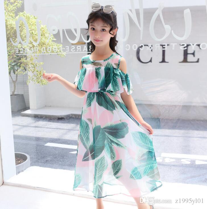 New Girls Longuette cotton Broken flowers Dress Dresses Girl Prom Dresses Summer Princess Dress best quality 4-21 lw48