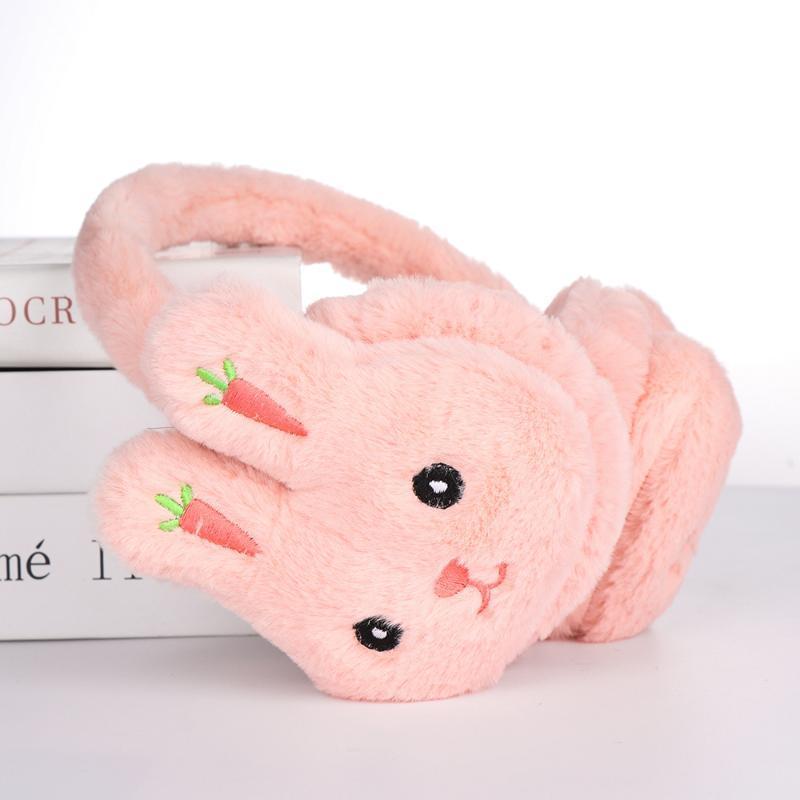 New Women Cartoon Carrot Embroidered Earmuffs Cute Winter Warm Ear Muffs Boys Girls Thicken Plush Ear Protection
