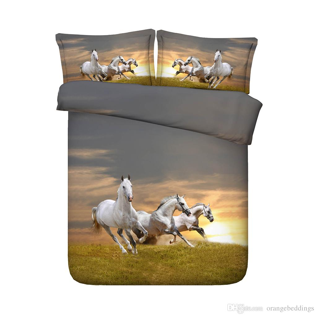 3 Pieces Bedding Quilt Comforter Cover For Kids Teen Girls Boys 1 Animal Duvet Cover 2 Pillow Shams No Comforter 3D Galloping Horses