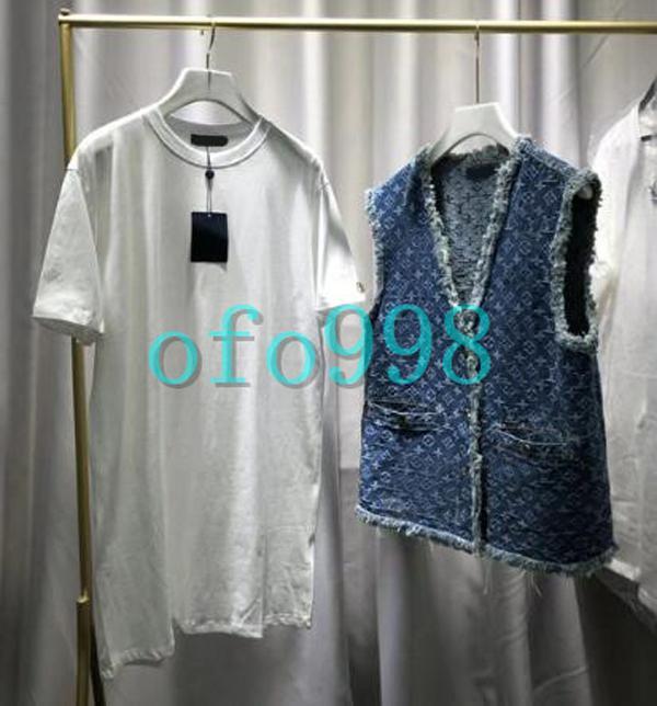 chicas de las mujeres blusa de manga corta con jacquard de mezclilla azul chaleco de dos mujeres de la manera que basa la camisa camisas de las señoras de las mujeres Streetwear Tops
