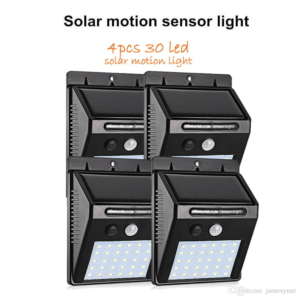 4pcs PIR Motion Sensor Solar Lights 30 LEDs Outdoor Light for Garden Security Waterproof Wall Lamp street wall spotlight flood