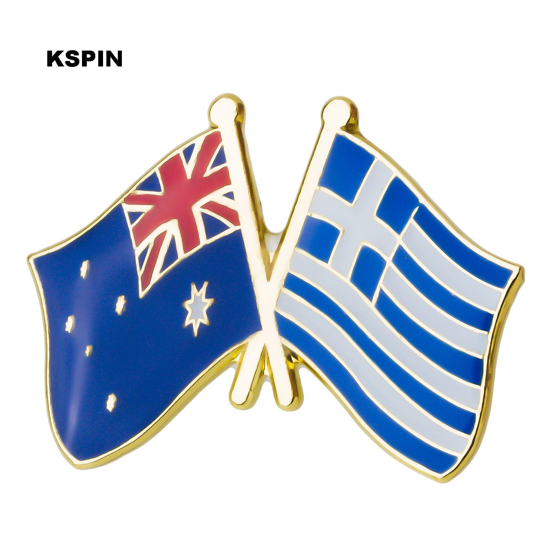 호주 그리스 우정 플래그 레이블 금속 배지 배지 아이콘 가방 장식 단추 브로치 옷 XY0274