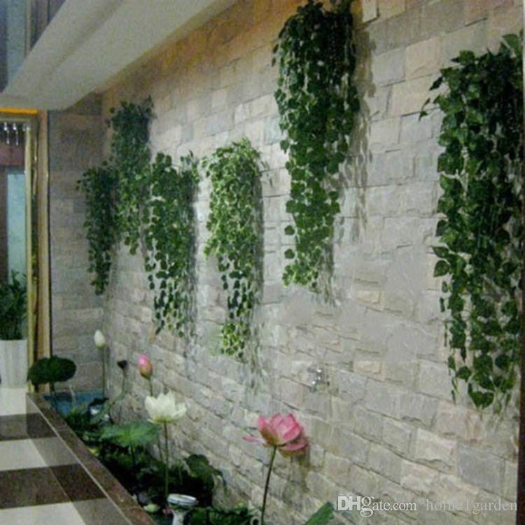 Popular Home Decor Artificial Green Plant Ivy Leaf Flower Vine Plastic Garland Rattan Silk Leaves Wall
