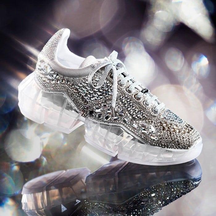 Sapatilhas de diamante de luxo Sapatas de diamante Mulheres Sapatos casuais de luxo Sapatos femininos de luxo Couro genuíno incluído